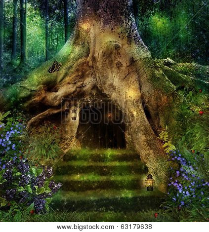 magic forest and a house in an big tree poster