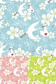Seamless Pattern Of Stork Flying With Newborn Baby And Flowers