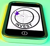 Invest Smartphone Shows Investors And Investing Money Online