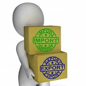 Import Export Boxes Mean Global Trade Importing And Exporting