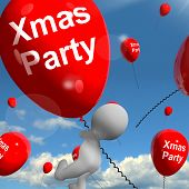 Xmas Party Balloons Show Christmas Celebration And  Festivity