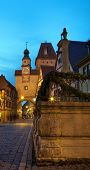 Famous Street By Night In Rothenburg Ob Der Tauber.