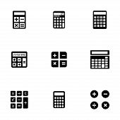 Vector black calculator icons set