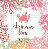 image of crab  - Vector seamless vector background with cute crab - JPG