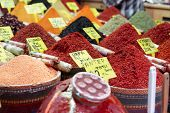 Various spices on oriental bazaar, Istanbul, Turkey