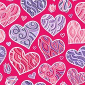 Abstract Lined Vector Hearts Seamless Background Wall Pattern Design