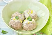 picture of boll  - meat bolls with lemon cream sauce in to the green dish - JPG