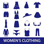 image of womens panties  - set of womens clothing blue icons eps10 - JPG
