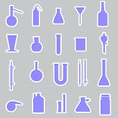 chemistry laboratory glassware stickers eps10