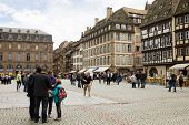The Cathedral Square In Strasbourg With Tourists