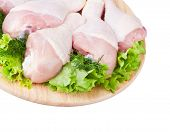 Raw Chicken Legs With Green Salad