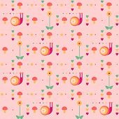 vector seamless pink pattern with snails