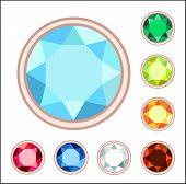 Amber, Citrine, Ruby, Diamond, Sapphire, Emerald Gemstone Set