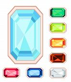 Amber, Citrine, Ruby, Diamond, Sapphire, Emerald Rectangle Gemstone Set