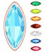 Amber, Citrine, Ruby, Diamond, Sapphire, Emerald Oval Gemstone Set