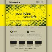 Website Template with Abstract Header Design - Yellow Grunge Pattern