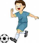 Illustration of a Little Boy Kicking a Soccer Ball