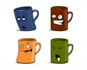 Cartoon Mugs With Different Emotions The Isolated