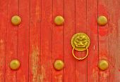 Chinese Traditional Door With Golden Lion Head