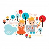 Happy dutch day of the king Holland kingsday theme illustration print with princess and crown in vec