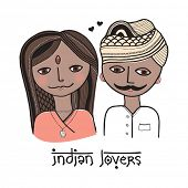 Two lovers from India design hand drawn girl and boy with mustache illustration in vector
