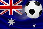 Soccer Ball Streaks Across Australia's Flag