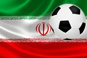 Soccer Ball Streaks Across Iran's Flag