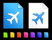 Airplane Icons on Colorful Paper Document Collection