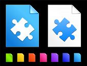 Puzzle Piece Icons on Colorful Paper Document Collection