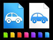 Vehicle Icons on Colorful Paper Document Collection
