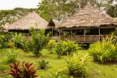 Peru, Peruvian Amazonas Landscape. The Photo Present Typical Indian Tribes Settlement In Amazon