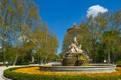 Flowers and fountain in the Retiro Park in Madrid