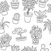 Pot Plants And Flowers Seamless Pattern