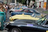 Retro Cars In A Row On Display Outdoors In Lvov