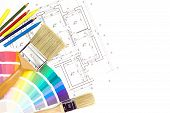 Brushes, Pencil And Color Samples On Home Plan Background