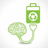 creative brain Idea symbol charged by a eco battery