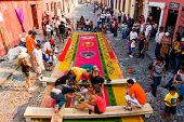 Group Making A Holy Week Carpet, Antigua, Guatemala
