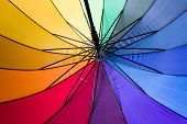 inside of an umbrella with all rainbow colours