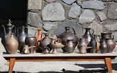 Collection of ancient clay dishes