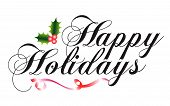 stock photo of happy holidays  - Happy Holidays script type with holly and ribbon - JPG