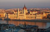 image of hungarian  - Famous building of Hungarian parliament in evening light Budapest - JPG
