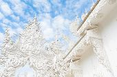 Detail Of  Wat Rong Khun (white Temple) In Chiang Rai Province