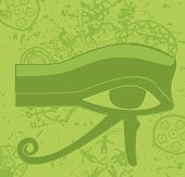 stock photo of horus  - Grunge egyptian Eye of Horus ancient deity religious symbol vector illustration - JPG