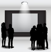 Peoples Silhouettes Looking on the Empty Frame in Art Gallery fo