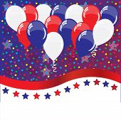 American Holidays Background With Balloons