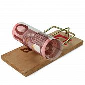 Ten Euro banknote in mouse trap