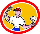 Electrician Holding Electric Plug And Bulb Cartoon