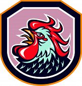 Rooster Cockerel Crowing Shield Retro