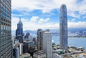 Hongkong skyline under blue sky