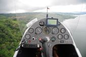 stock photo of gyrocopter  - Instruments on the dashboard of the flying autogyro  - JPG